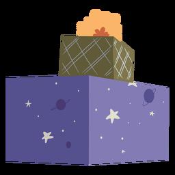 Box gift present bow flat