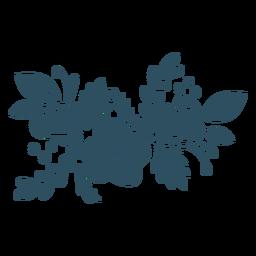 Silhueta detalhada da folha flor ramo