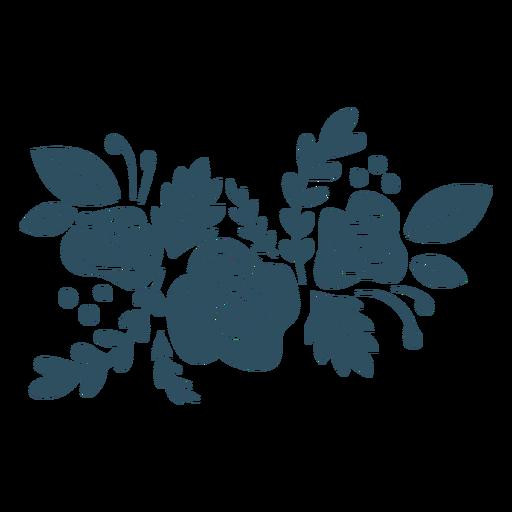 Rama flor hoja silueta detallada Transparent PNG