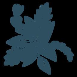Rama hoja flor baya silueta detallada
