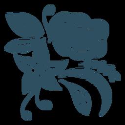 Rama hoja flor silueta detallada