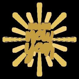 Autocolante de distintivo de ano novo