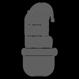 Cactus hat pot detailed silhouette