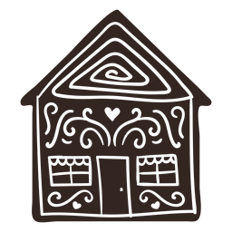 Cookie gingerbread house detailed silhouette
