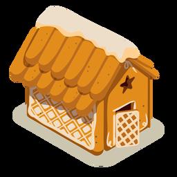 Casa de pan de jengibre de galleta isométrica