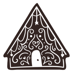 Cookie house gingerbread detailed silhouette