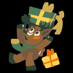 Ciervo caja de regalo plana
