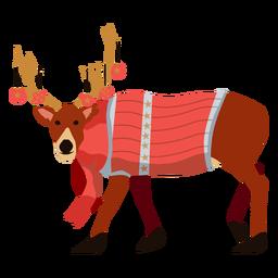 Ciervo reno Navidad plana