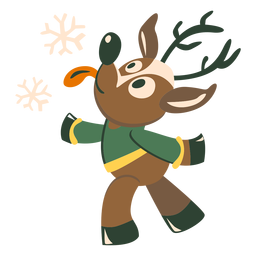 Copo de nieve de ciervo plano