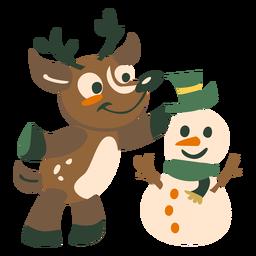 Ciervo muñeco de nieve plano