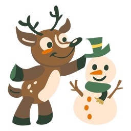 Venado muñeco de nieve plano
