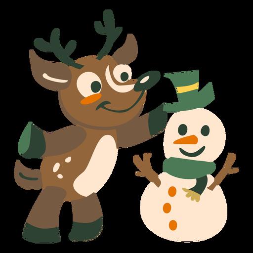 Ciervo muñeco de nieve plano Transparent PNG