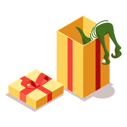 Caja de regalo de elfo arco isométrico
