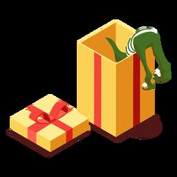 Elf bow gift box isométrico