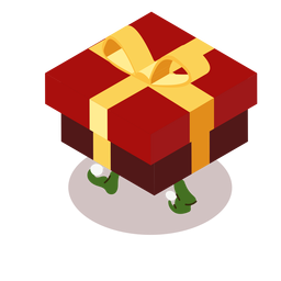 Elf box bow gift isometric