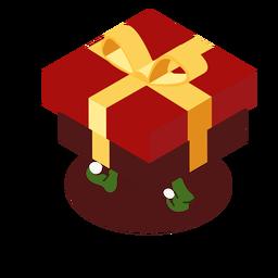 Presente de arco de caixa de elfo isométrico