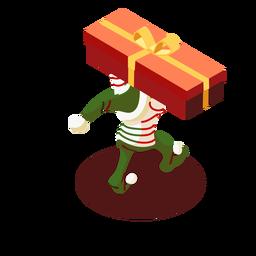 Caja de elfo arco de regalo isométrico