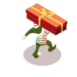 Elf box gift bow isometric
