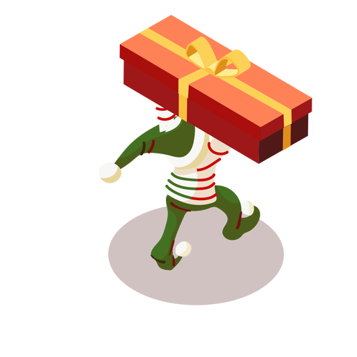 Elf box gift bow isometric Transparent PNG