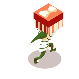 Presente da caixa de elfo isométrico