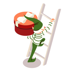 Elfo escalera caja regalo arco isométrico
