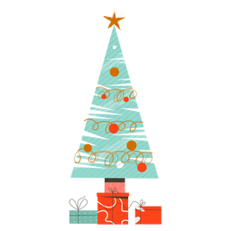 Abeto estrella bola regalo plano navidad