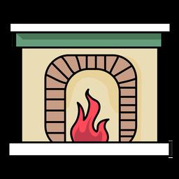 Kamin Feuer flach