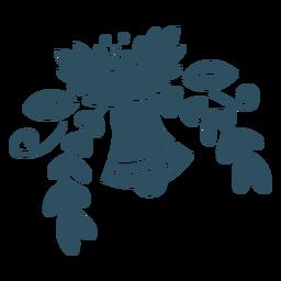Flor campana hoja rama silueta detallada