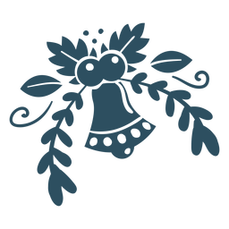 Flor sino folha filial detalhada silhueta