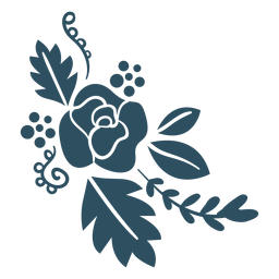 Flor baya rama hoja detallada silueta