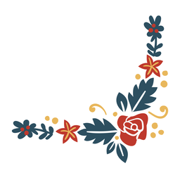 Flor rama hoja baya plana