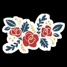 Flor rama hoja plana