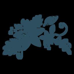 Silueta detallada de rama de hoja de flor