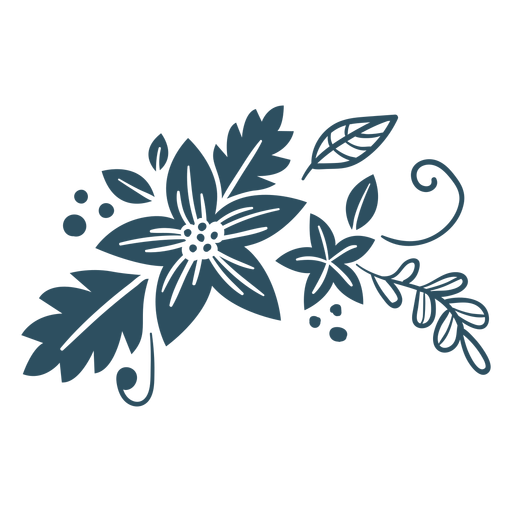 Flower leaf branch detailed silhouette