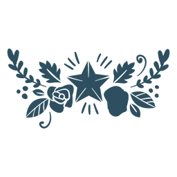 Flor folha estrela ramo detalhada silhueta