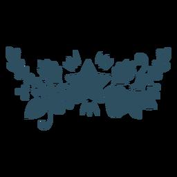 Flor hoja estrella rama silueta detallada