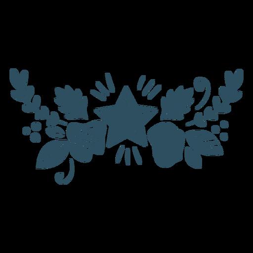 Flor hoja estrella rama silueta detallada Transparent PNG