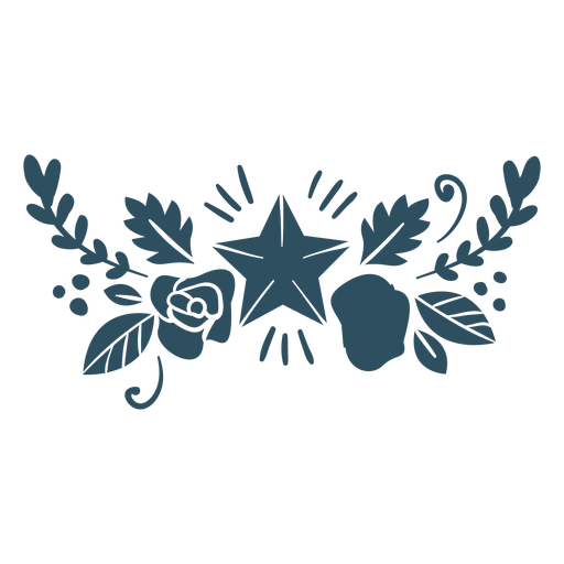 Flower leaf star branch detailed silhouette Transparent PNG
