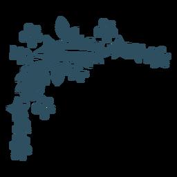 Flor estrella rama hoja detallada silueta
