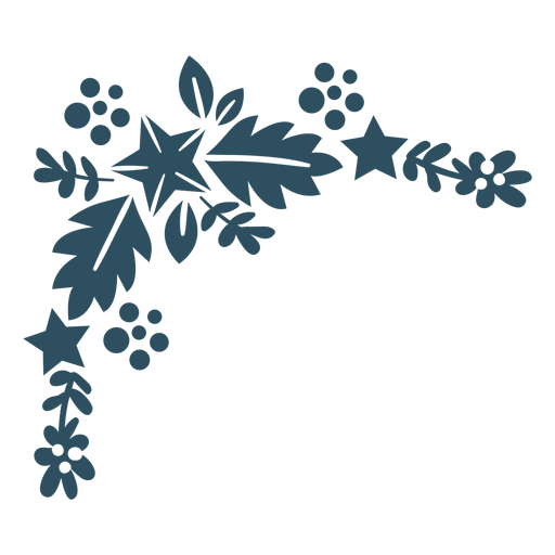 Flower star branch leaf detailed silhouette
