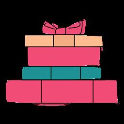 Caja de regalo arco plano navidad