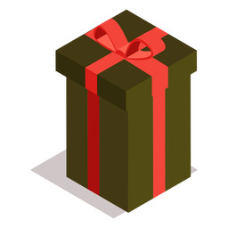 Gift box bow isometric