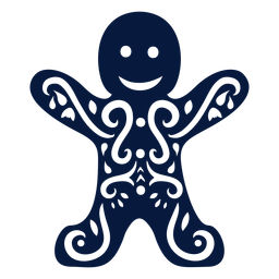 Gingerbread cookie man detailed silhouette