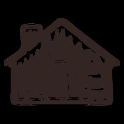 Silueta detallada de galleta de casa de abeto de pan de jengibre