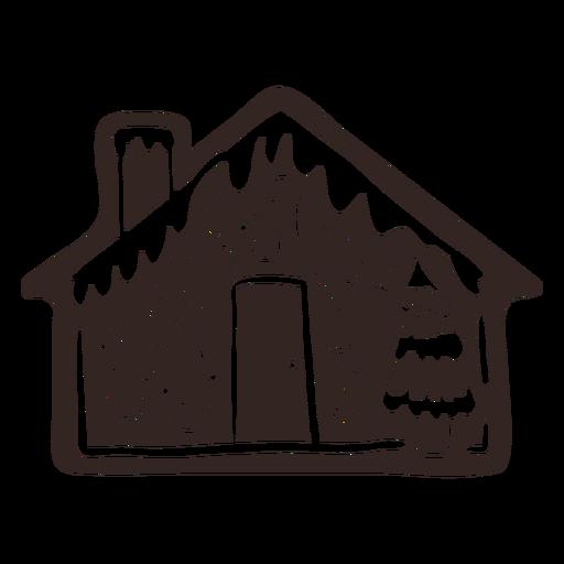 Galleta de casa de abeto de jengibre silueta detallada
