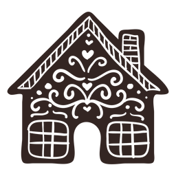Gingerbread house cookie detailed silhouette