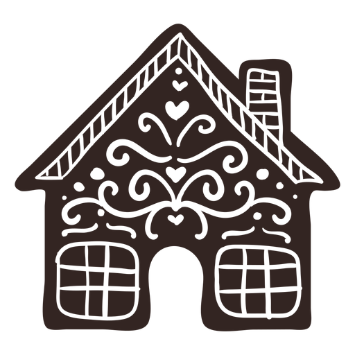 Gingerbread House Cookie Detailed Silhouette Transparent Png Svg Vector File