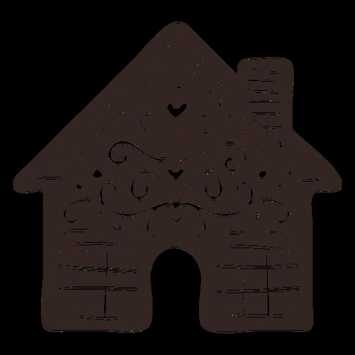 Silueta detallada de galleta de casa de jengibre