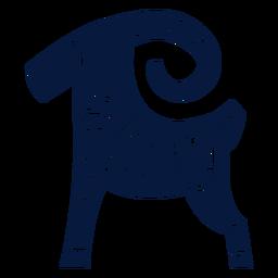Silhueta detalhada de ovelhas de biscoito de gengibre