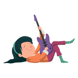 Chica guitarra plana